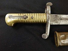 Brazilian ? Altered Short Blade Brass Grip Bayonet W/S